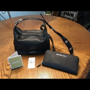 Michael Kors Black Leather Bag and Wallet